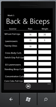 Windows Mobile P90X back and biceps applications