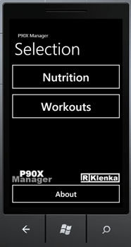 Windows Mobile 7 P90X manager work out app selection screen